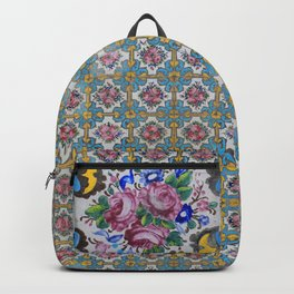Floral tile yellow turquoise Backpack