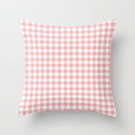 Lush Blush Pink and White Gingham Check Throw Pillow