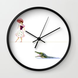 Haunted Tightrope Girl And Gator Wall Clock
