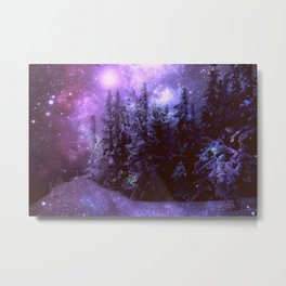 Galaxy Winter Forest Purple Metal Print