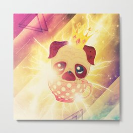 Kawaii pug flying in a cup lightings and starry texture Metal Print