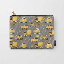 Construction Trucks on Gray Carry-All Pouch