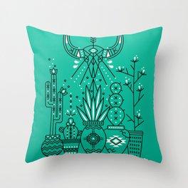 Santa Fe Garden – Turquoise & Black Throw Pillow