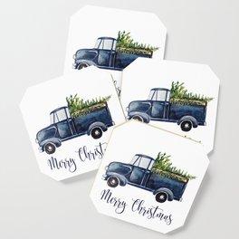Blue Christmas Truck Coaster