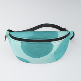 Aqua Bubbles: Abstract turquoise watercolor painting Fanny Pack