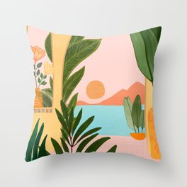 Moroccan Coast - Tropical Sunset Scene Throw Pillow