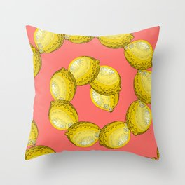 lemon pattern Throw Pillow