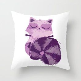 Sleepy Raccoon Throw Pillow