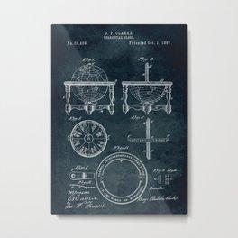 1867 - Terrestial globe patent art Metal Print