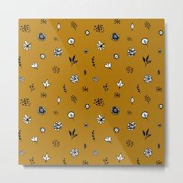 flowers leaves doodle hand drawn scandinavian style white black brown, fashion print Metal Print