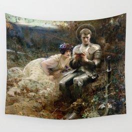 Arthur Hacker - The Temptation of Sir Percival Wall Tapestry