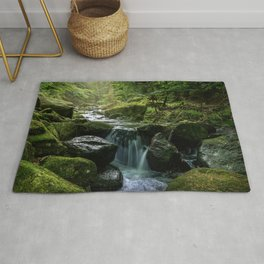 Flowing Creek, Green Mossy Rocks, Forest Nature Photography Rug