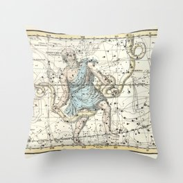 Constellations Ophiuchus and Serpents, Celestial Atlas Plate 9, Alexander Jamieson Throw Pillow