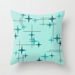 Mid Century Modern Stars Turquoise Throw Pillow