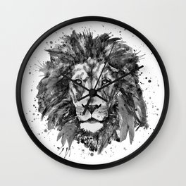Black and White Lion Head Wall Clock