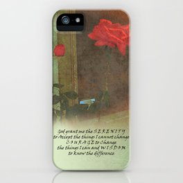 Serenity Prayer Rose and Door iPhone Case