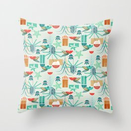 Beach Floral and Shells Throw Pillow