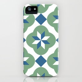 Islamic star flower tiles blue & green pattern iPhone Case