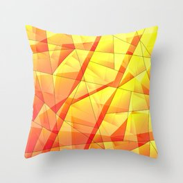 Bright contrasting fragments of crystals on irregularly shaped yellow and orange triangles. Throw Pillow