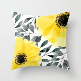 Big yellow watercolor flowers Throw Pillow