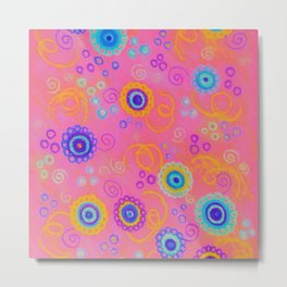 RASPBERRY FIZZ - Sweet Pink Fruity Candy Swirls Abstract Watercolor Painting Bright Feminine Art Metal Print