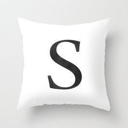 Letter S Initial Monogram Black and White Throw Pillow