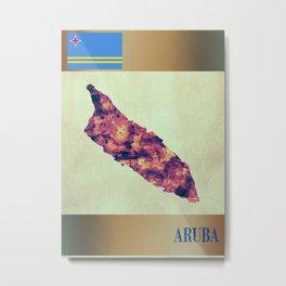 Aruba Map with Flag Metal Print