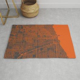 Chicago map orange Rug