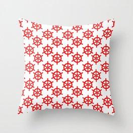Ship Wheel (Red & White Pattern) Throw Pillow