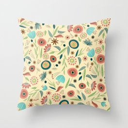 1950s Floral Throw Pillow