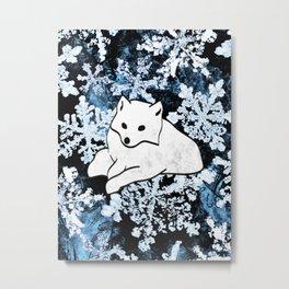 Foxes & Flakes (Blue Version) Metal Print