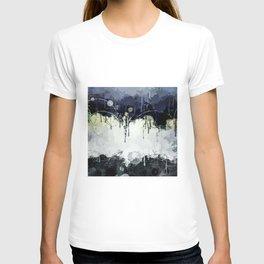 Modern Indigo Eclipse Abstract Design T-shirt