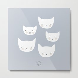 Little sleepy cat kawaii baby kitten nursery print blue boy Metal Print