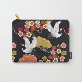 Japanese crane bird hand drawn illustration pattern on dark background.  Carry-All Pouch