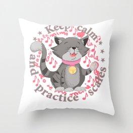 Keep calm practice scales violin rabbit Throw Pillow