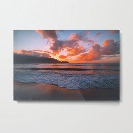 Tropical Hawaiian Beach Sunset Metal Print