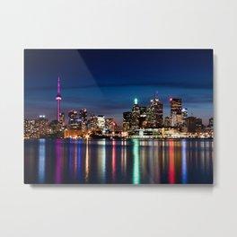 Toronto Skyline At Night From Polson St No 2 Metal Print