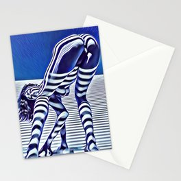 9244-KMA_5206 Sexy Blue Striped Nude Bending Down Looking Back Stationery Cards