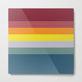 7 Colorful Retro Summer Stripes Gitche Metal Print