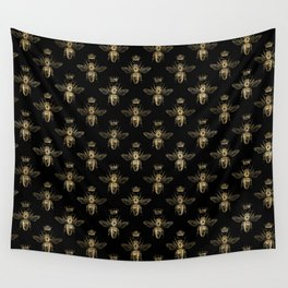 Black & Gold Queen Bee Pattern Wall Tapestry