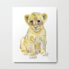 Lion Cub Watercolor Metal Print