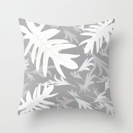 Trio palm leaves. White, silver, light-grey, tropical, autumn, fall, pattern, society6 Throw Pillow