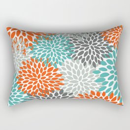 Floral Pattern, Abstract, Orange, Teal and Gray Rectangular Pillow