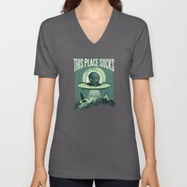 Alien UFO Spaceship Aliens Gift Unisex V-Neck