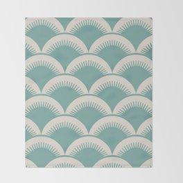 Japanese Fan Pattern Foam Green and Beige Throw Blanket