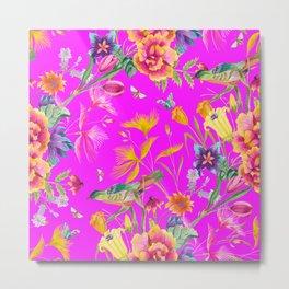 Bold Summer Print on Magenta Pink Metal Print