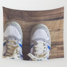 Close up of a blue sneaker Wall Tapestry