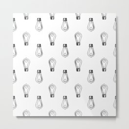 Vintage Light Bulbs Neck Gator Black and White Light Bulb Metal Print