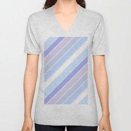 Retro Diagonal Stripes in Pastel Periwinkle Unisex V-Neck
