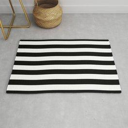 Black and White Medium Stripes Pattern Rug